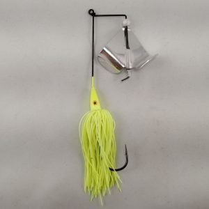 Chartreuse buzzbait with silver blades