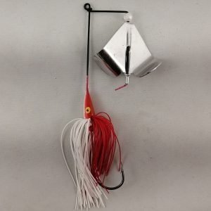 Red and white buzzbait with silver blades
