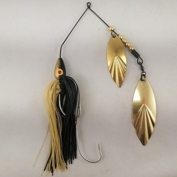 Black and gold large spinnerbait with double willow blades