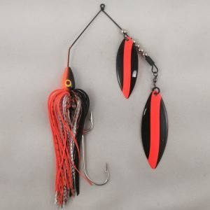 Black and orange large spinnerbait with double willow blades
