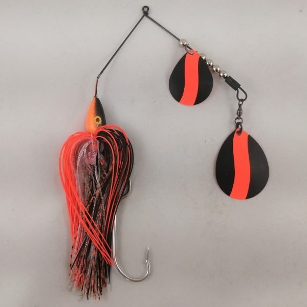 Black and orange large spinnerbait with double colorado blades