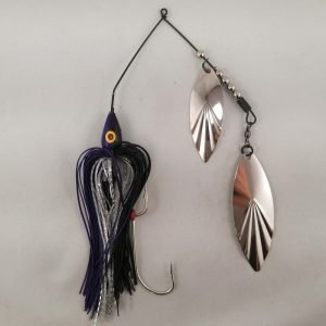 Black and purple large spinnerbait with double willow blades