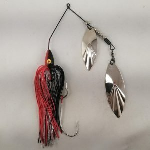 Black and red large spinnerbait with double willow blades