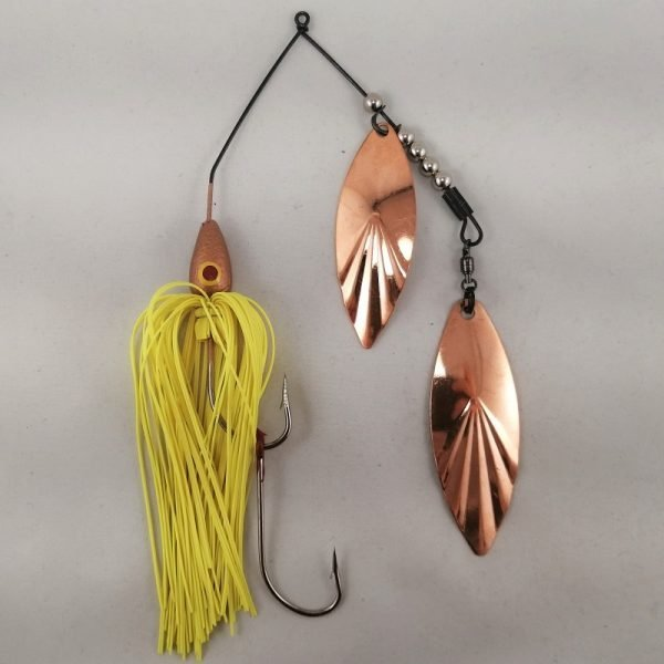 Copper with chartreuse large spinnerbait with double willow blades
