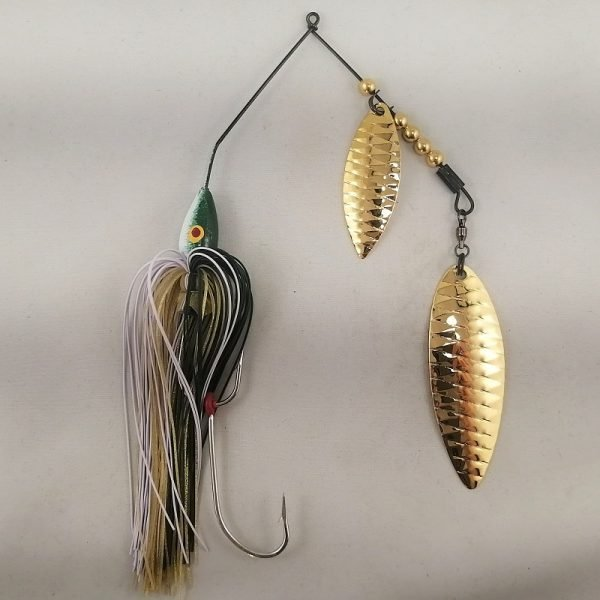 Dark green and white large spinnerbait with gold double willow blades