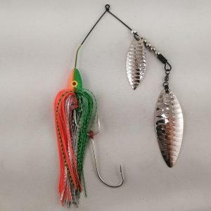 Lime and orange large spinnerbait with double willow blades