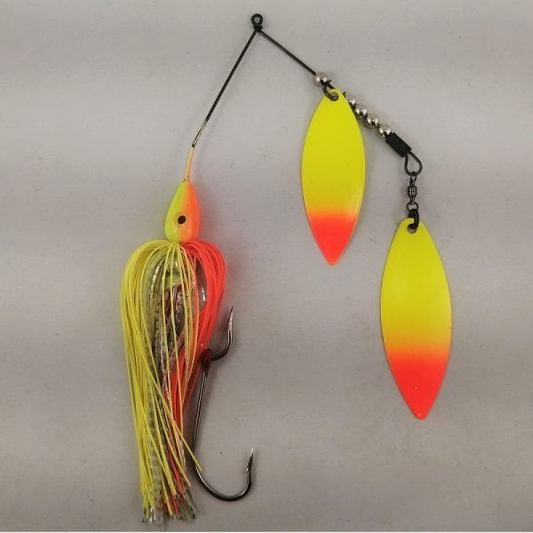Orange and chartreuse large spinnerbait with double willow blades