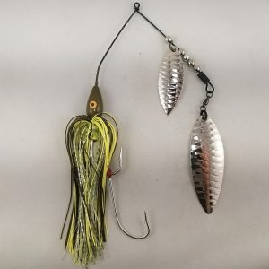 Pumpkin large spinnerbait with silver double willow blades