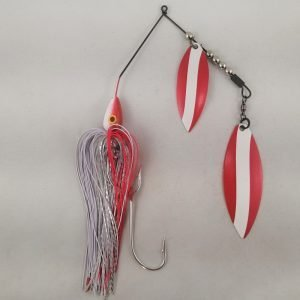 Red and white large spinnerbait with double willow blades