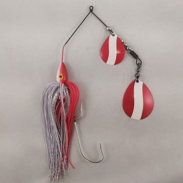 red and white large spinnerbait with double Colorado blades