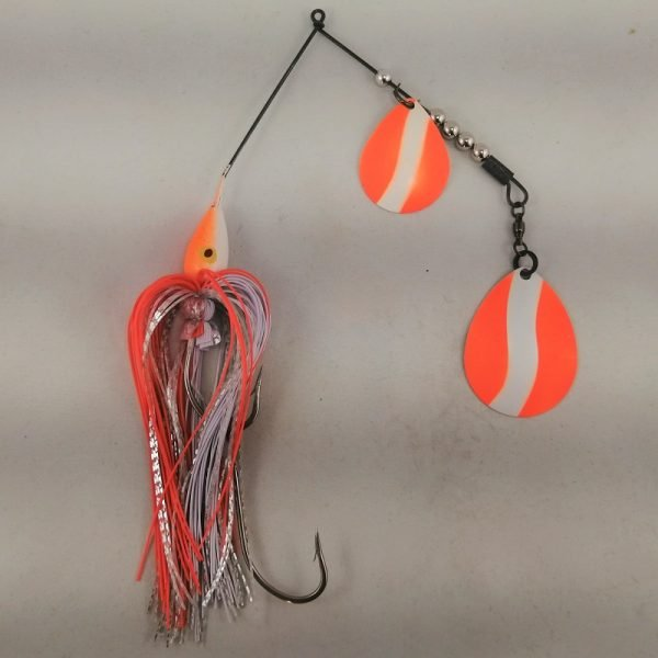 White and orange large spinnerbait with double Colorado blades