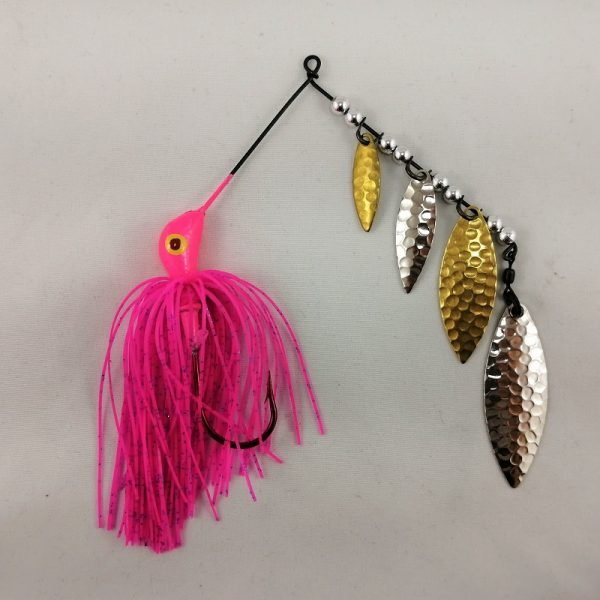 Pink spinnerbait with four silver and brass blades