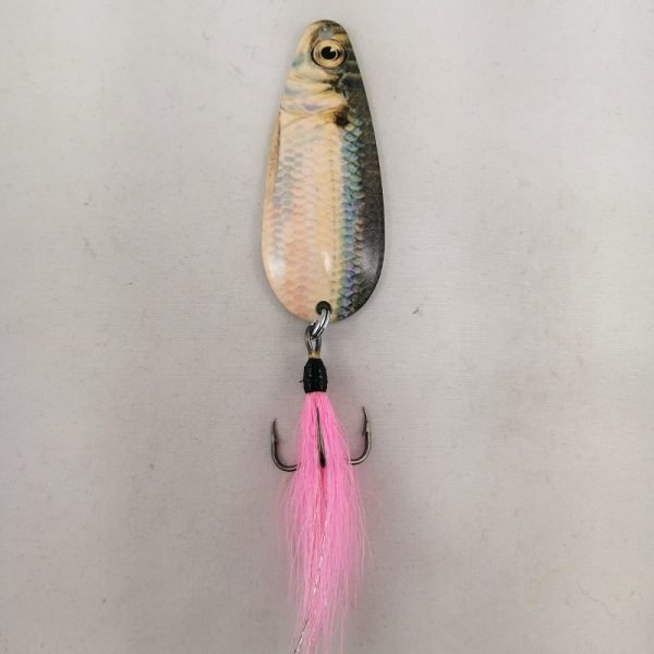 Shiner pattern spoon with a bucktail coated treble hook