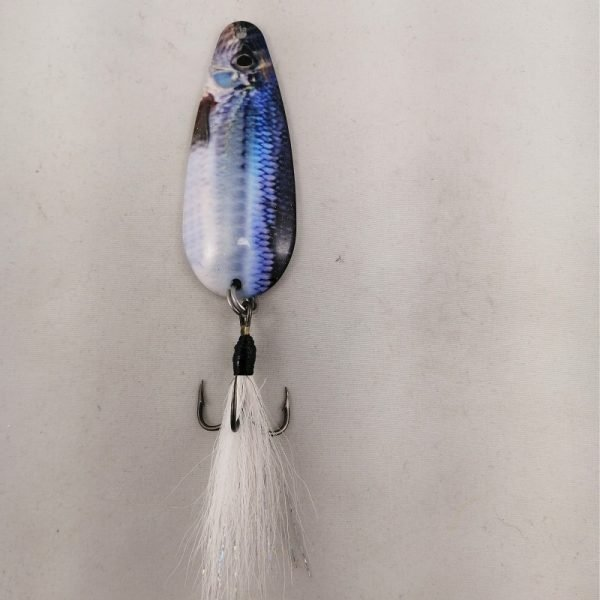 Smelt pattern spoon with a bucktail coated treble hook