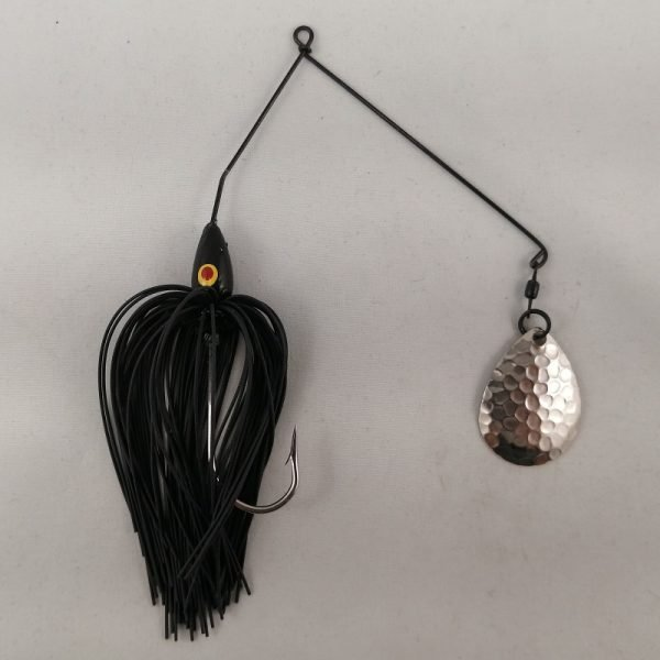 Black spinnerbait with a single Colorado blade