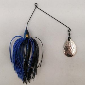Black and blue spinnerbait with a single Colorado blade