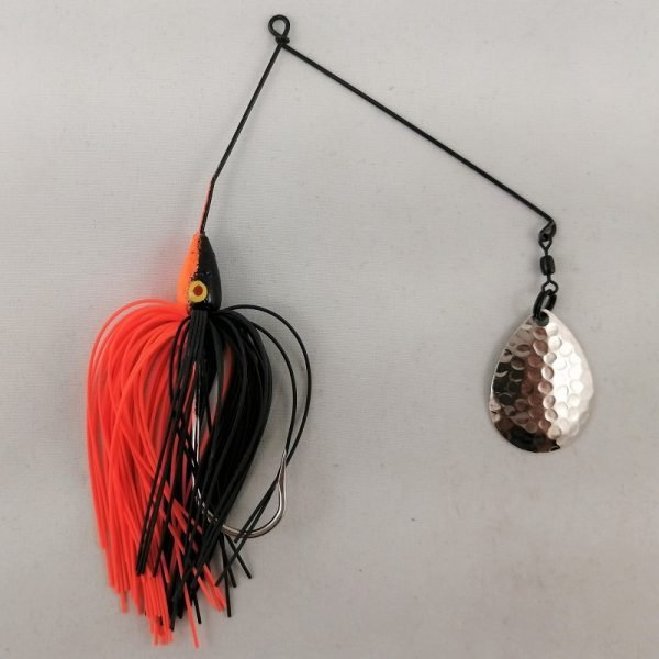 Black and orange spinnerbait with a single Colorado blade