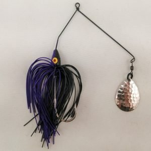 Black and purple spinnerbait with a single Colorado blade
