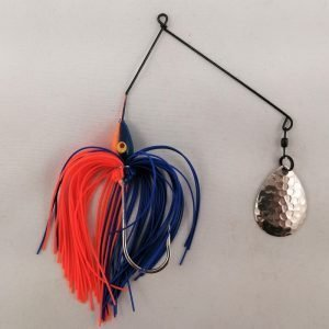 Blue and Orange spinnerbait with a single Colorado blade