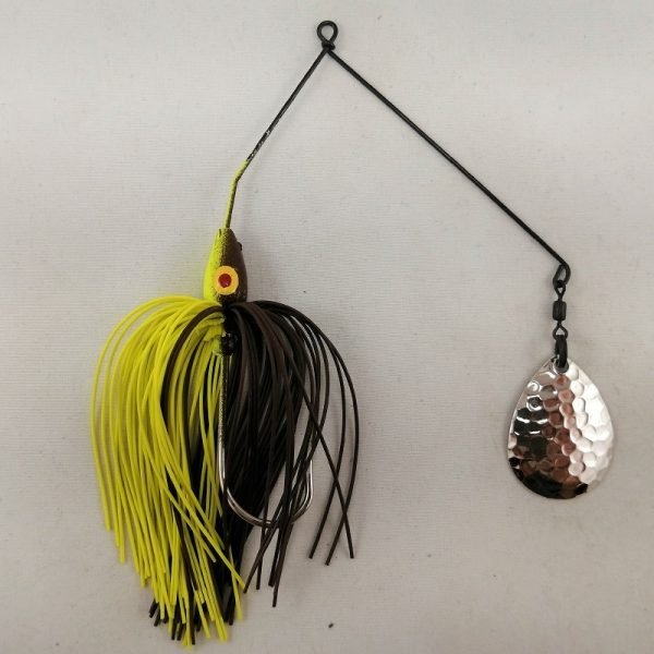 Brown and Chartreuse spinnerbait with a single Colorado blade
