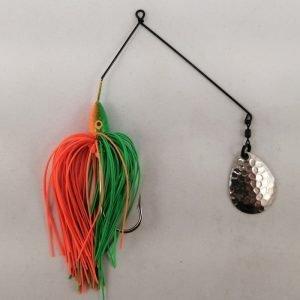 Lime and orange spinnerbait with a single Colorado blade