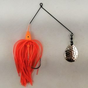 Orange spinnerbait with a single Colorado blade
