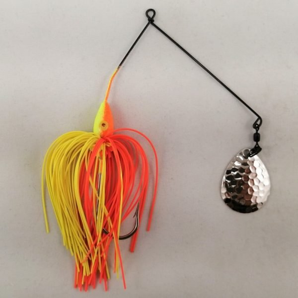 Orange and chartreuse spinnerbait with a single Colorado blade
