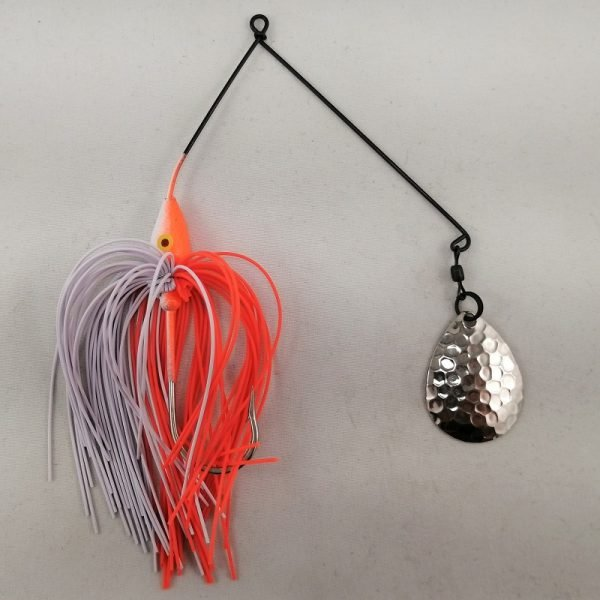 Orange and white spinnerbait with a single Colorado blade