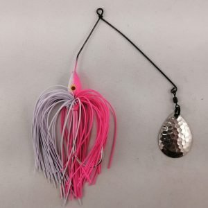 Pink and white spinnerbait with a single Colorado blade