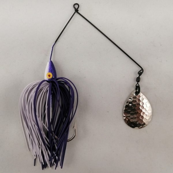 Purple and white spinnerbait with a single Colorado blade