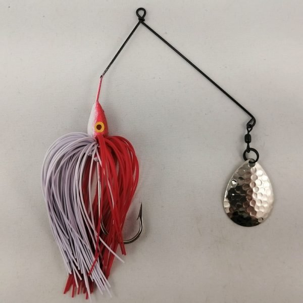 Red and white spinnerbait with a single Colorado blade