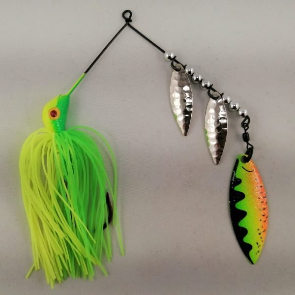 lime and chartreuse spinnerbait with three willow blades