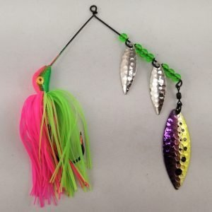 Lime and pink spinnerbait with three willow blades