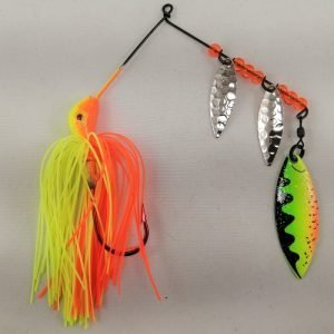 Orange and chartreuse spinnerbait with three willow blades