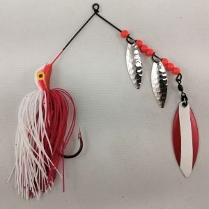 Red and white spinnerbait with three willow blades