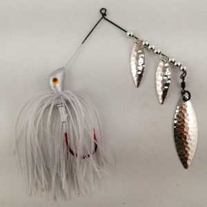 Silver spinnerbait with three willow blades