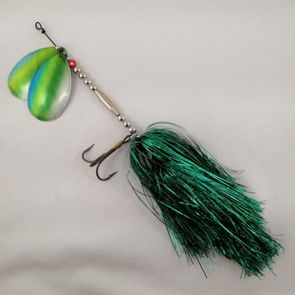 Dark green inline spinner with double 10 blades and two sets of treblehooks