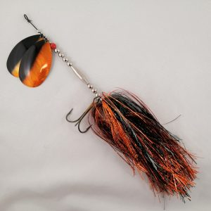 Black and orange inline spinner with double 10 blades and two sets of treblehooks
