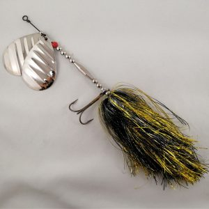 Black and yellow inline spinner with double 10 blades and two sets of treblehooks
