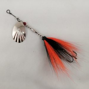 Black and orange bucktail inline spinner with silver blade