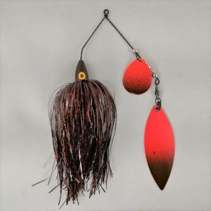 Brown Spinnerbait with an orange colorado blade, and orange willow blade