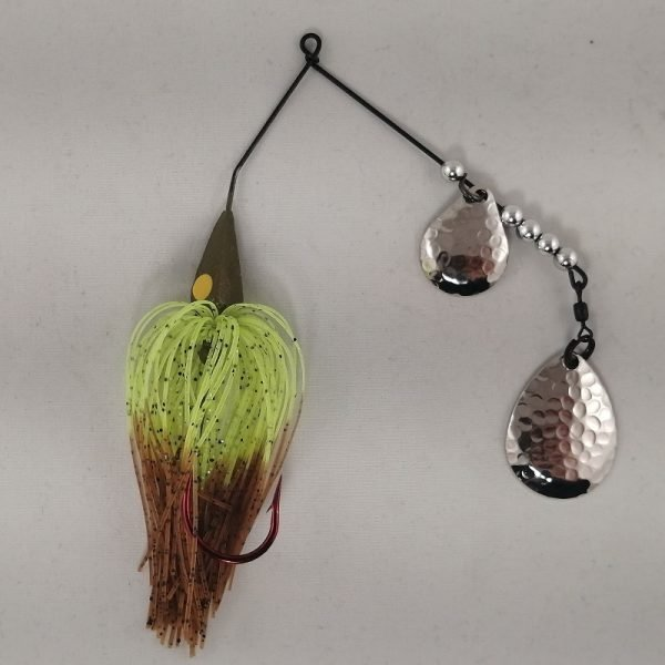 Pumpkin and chartreuse spinnerbait with double Colorado blades