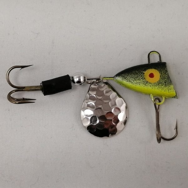 Black and chartreuse tail spinner with silver blade