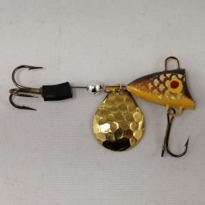 Brown and yellow tail spinner with gold blade