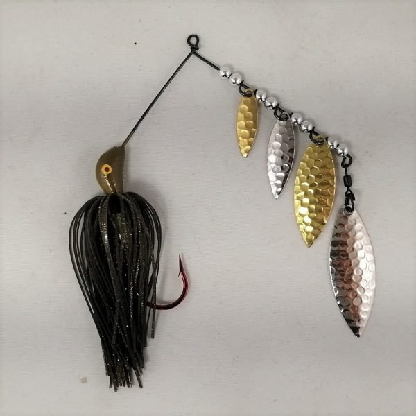 A pumpkin quad blade spinnerbaits
