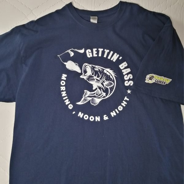 """navy t-shirt Gettin' Bass that says """"Gettin' bass morning, noon, and night"""""""